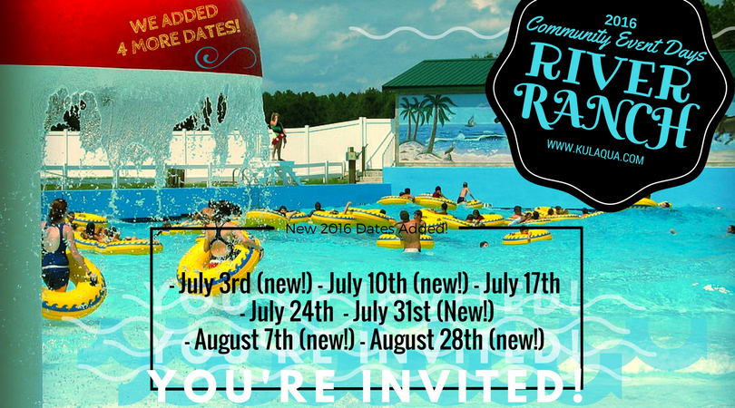 River Ranch Water Park Community Days Calendar 2016